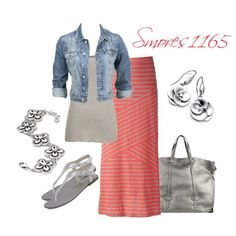 """Coral and Gray Maxi Skirt"" by smores1165 on Polyvore"