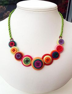 Handmade Multi-coloured Button Necklace