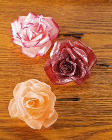 Hard Flower Barrettes These crepe-paper flowers are beautiful on their own or as one-of-a-kind fashion accessories. Make Hard Flower Barrettes Crepe Paper Crafts, Crepe Paper Roses, Paper Flowers Diy, Handmade Flowers, Flower Crafts, Fabric Flowers, Diy Paper, Tissue Paper, Wafer Paper
