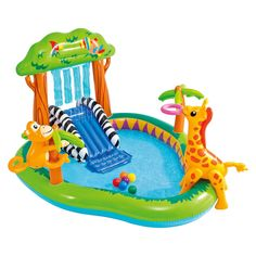 Intex Jungle Fun Playcenter Includes Water Slide, Wading Pool, Detachable Monkey And Giraffe, 6 Fun Balls, Ring Toss And Water Sprayer Pool Water Slide, Swimming Pool Water, Water Slides, Children Swimming Pool, Kid Pool, Water Toys, Water Play, Piscina Playground, Play Centre