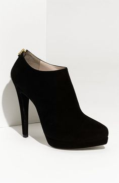 Miu Miu Pointed Toe Suede Platform Bootie. starting to like this style. not sure if i'd wear them though...