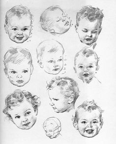 Baby drawing sketches illustration 64 Ideas for 2019 Portrait Au Crayon, L'art Du Portrait, Pencil Portrait, Baby Face Drawing, Toddler Drawing, Children Drawing, Pencil Art Drawings, Drawing Sketches, Sketching