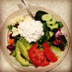 "Our mouths are watering! Thanks for making us hungry, @Shelley Musleh ;) ""M3: a yummy salad with avocado & cottage cheese instead of dressing!"
