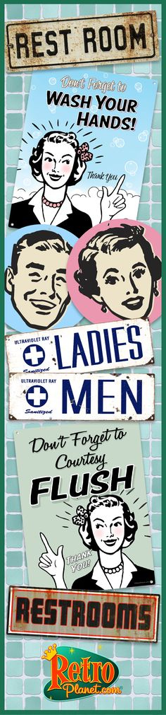 Retro Restroom Signs and Decals  - A fun alternative to standard rest room signs. Perfect for business and home.