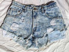Vintage Levis Jean Shorts Sz 34 Fringe Distressed Boho High Waist Acid Wash #Levis #Denim