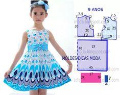 Pattern for kid's dress Baby Girl Dress Patterns, Baby Clothes Patterns, Sewing Patterns For Kids, Dress Sewing Patterns, Girls Dresses Sewing, Little Girl Dresses, Fashion Kids, Kind Mode, Kids Outfits