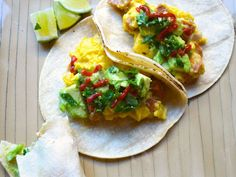 Scrambled Egg and Sausage Tacos with Avocado and Scallion Recipe on Yummly