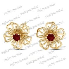 6b9a1fe7e Yellow Gold Over 925 Sterling Silver Round Cut Red Ruby Flower Stud Earrings