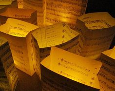 20 Luminaries, Music Decorations, Luminary Package, Music Wedding, Sheet Music Decor, For Weddings & Events, Paper Lanterns, Luminaries