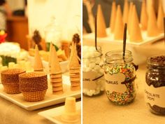 sundae bar with mason jars. IDEA. Give mason jars filled with a mix of non perishable toppings as party favors