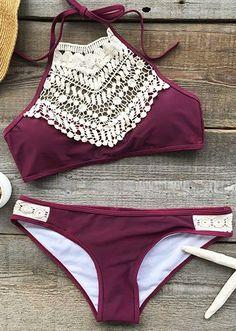 Blooming Above Lace Halter Bikini Set
