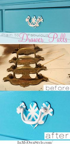 How To Update Brass Drawer Pulls . using an acrylic resin product called EnviroTex Lite & paper napkins with cute designs or gift wrap, spray adhesive & spraypaint . Refurbished Furniture, Repurposed Furniture, Furniture Makeover, Painted Furniture, Painted Chairs, Brass Drawer Pulls, Dresser Drawer Pulls, Drawer Handles, Dresser Drawers