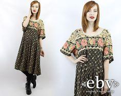 #Vintage #90s #Grunge Floral Midi #Dress, fits 2X/3X by #shopEBV http://etsy.me/1flXH0v via @Etsy #etsy #plussize #fashion #style, $42.00