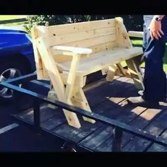 Woodworking Looking for other ideas & free plans: DIY diy furniture videos free Ideas plans Woodworking Outdoor Furniture Plans, Diy Garden Furniture, Pallet Furniture, Outdoor Wood Bench, Adirondack Chair Plans, Easy Woodworking Projects, Woodworking Plans, Wood Projects, Picnic Table Bench