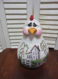 Handpainted Folk Art Primitive Hen Chicken Doll Gourd