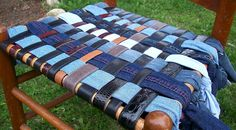repurposed denim and leather chair