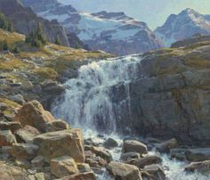 Clyde Aspevig, 'budget' the amount of pure white in waterfall, make it a high note.note the 2 visuals paths into the scene.note color of rocks & all the warm against cool balance Landscape Art, Landscape Paintings, Seascape Paintings, Oil Paintings, Clyde Aspevig, Waterfall Paintings, Mountain Paintings, Pastel, Western Art