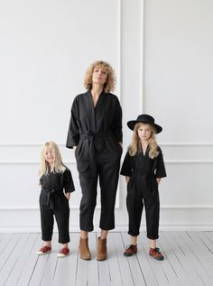 Jumpsuit made from a soft, medium weight, washed linen. Relaxed and comfortable fit. Hidden button closure on the waist, jumpsuit comes with a tie belt. Mother Daughter Outfits, Mom Daughter, Unisex Fashion, Kids Fashion, Neutral Outfit, Neutral Style, Girls Rompers, Overall, Kid Styles