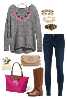 magenta by the-southern-prep on Polyvore featuring polyvore, fashion, style, H&M, J Brand, Tory Burch, Longchamp, Michael Kors, J.Crew, BaubleBar and Marc Jacobs