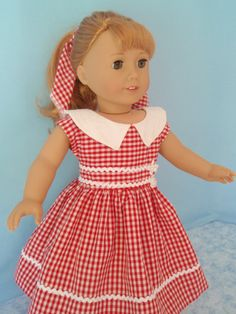 American Girl Doll Dress 1950s Maryellen 18 Inch by izzadorabelle