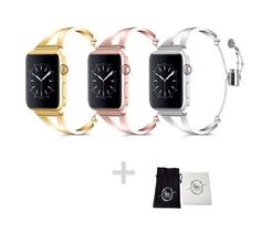 Lux Edition stainless steel Woman Apple watch strap band cuff bracelet for series 4 sizes from GoStrappy Apple Watch Wristbands, Apple Watch Bracelets, Apple Watch Bands, Bracelet Watch, Charm Bracelets, Armband Iwatch, Apple Watch Fashion, Gold Apple Watch, Apple Watch Series 1