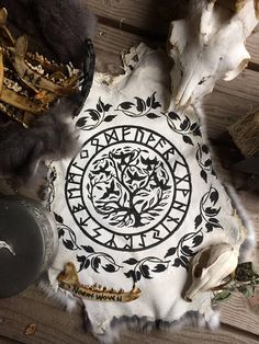 Yggdrasil with leafs and futhark alterpelt . world tree with
