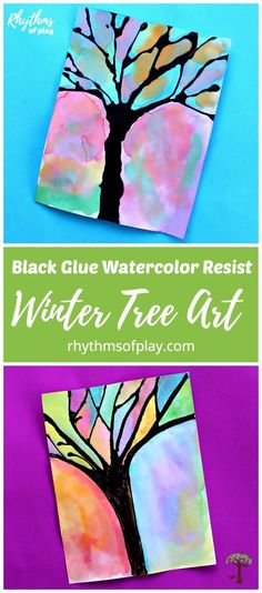 Try this gorgeouswinter tree black glue watercolor resist art project with the kids! Painting with watercolors and using black glue as a resist medium is a process-oriented way for children to practice working with watercolors while they learn about color and the science of resist mediums. #winter #artforkids #kidsart #artprojectsforkids #artproject #watercolor #watercolorpainting