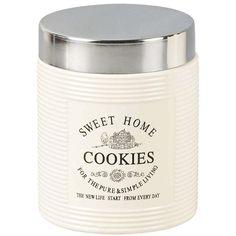 Pote de Cookies Bon Gourmet Cerâmica com Tampa de Inox 770ml