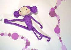 purple Tilda monkey,soft toys,Tilda doll fabric,plush monkey softie,handmade cuddly,nursery gift,cute animal,baby shower gift,kid room decor by Chiffony on Etsy