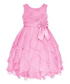 Look at this #zulilyfind! Ice Pink Rosette Cascade Dress - Girls' Plus #zulilyfinds