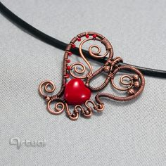 Wire heart pendant with red glass bead, Valentine's Day gift