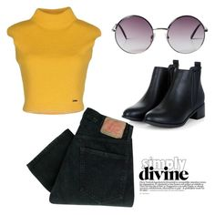 """""""mustard yellow"""" by gracieekleinn on Polyvore featuring Levi's, Dsquared2, Monki, women's clothing, women, female, woman, misses and juniors"""