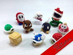 PDF Pattern for Crocheted Mario Enemies and Items Mini Amigurumi Keychain Plush Dolls eBook