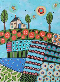 Flower Patches 12x16 ORIGINAL CANVAS PAINTING house cat FOLK ART Karla Gerard | Art, Folk Art & Indigenous Art | eBay!