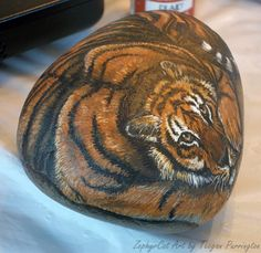 Photo of tiger rock...tutorial for help in painting a tiger!