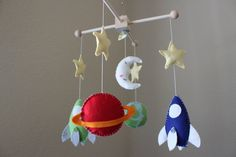 Baby Mobile - Baby Crib Mobile - Rocket Ship Nursery Mobile - Spaceship Mobile - Crib Mobile - Planets (You can pick your colors). via Etsy.