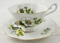 Royal Albert Wide Mouth Tea Cup and Saucer with White Flowers, Vintage Tea Cup, English Bone China, Teacup and Saucer