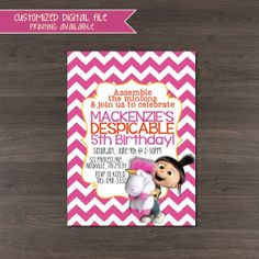 Girls Despicable Me invitation - Cute Pink Chevron Birthday Party Invitation - 4x6 or 5x7 - Digital download or printed