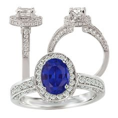18k cultured 7x5mm oval blue sapphire engagement ring with natural diamond halo