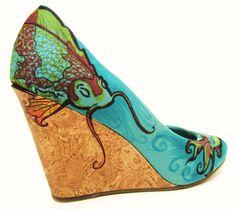 Hand Painted Shoes- Koi Fish- Beach Wedding Shoes- Something Blue- Fine Design. $180.00, via Etsy.