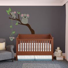 Items similar to Koala Bear Family on Tree Branches Nursery Decal - Wall Decal Custom Vinyl Art Stickers for Nurseries, Classrooms, Kids Rooms, on Etsy Animal Wall Decals, Nursery Decals, Baby Nursery Themes, Themed Nursery, Baby Theme, Koala Nursery, Ceiling Paint Colors, Family Tree Wall, Baby Bedroom