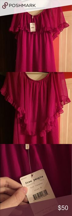 NWT Free People Ruffle Babydoll Dress In Hot Raspberry color. This dress can be worn on or off the shoulder. The first 3 pictures are without flash and the 4th picture is taken with the flash on. It is a bright magenta/purple/pink color. Free People Dresses Mini