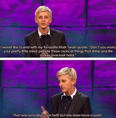 """Funny Ellen Degeneres Quotes – 25 Pics have to click. Very """"Ellen"""" and hilarious! Ellen Quotes, Ellen Degeneres Quotes, She Wolf, It Goes On, I Love To Laugh, Look At You, I Smile, Funny Photos, Funny Images"""