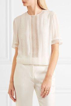 Giambattista Valli - Lace-trimmed Silk Top - Ivory - IT46