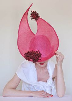 Browse over Hat Listings from Talented Milliners & Race Enthusiasts. Find the Perfect Fascinator for your next Race Day. Leather Flowers, Fascinator, Headpiece, Race Day, Red Leather, Sculpting, Spring Summer, Aud, Shapes