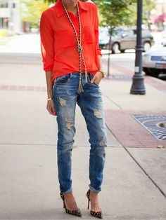 1. Animal print pumps + rollete up jeans + azaleia cotton shirt + long golden necklace