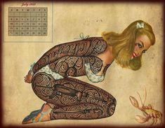 Barcelona-based artist Ramon Maiden uses a ball-point pen to tatoo characters on vintage illustrations, postcards, and calendars.