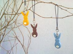 Rabbit polymer clay phone strap for Easter - Phone strap in fimo per pasqua, a forma di coniglietto