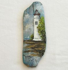 Marblehead Lighthouse Original Painting on Driftwood by PatAsbury