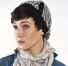 Grey Striped Slouch Hat